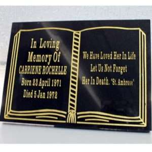 book plaque memorial accessory