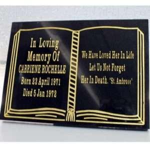 book plaque memorial accessory