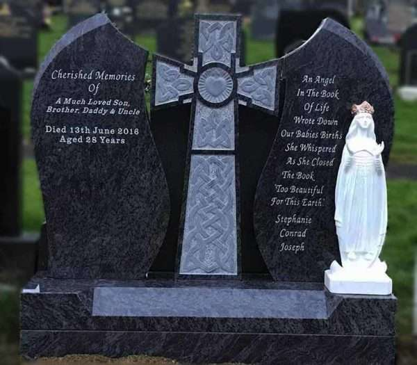 Headstone Custom with Heart cross