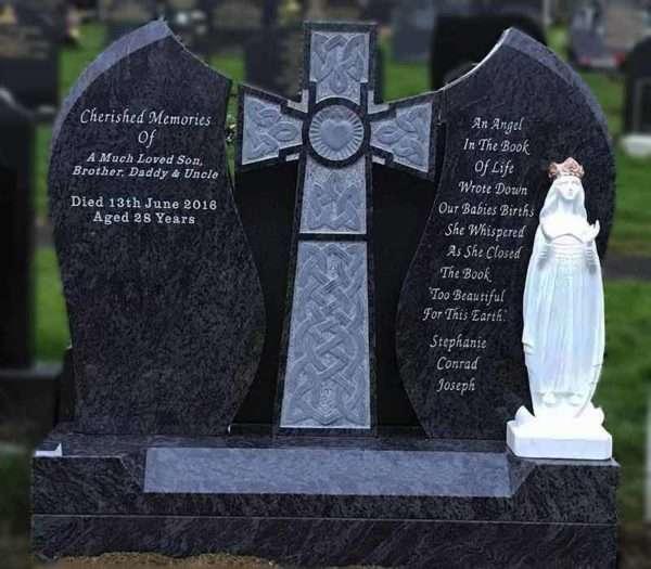 Headstone Custom with Heart cross