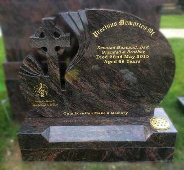 Curved Headstone with Cross