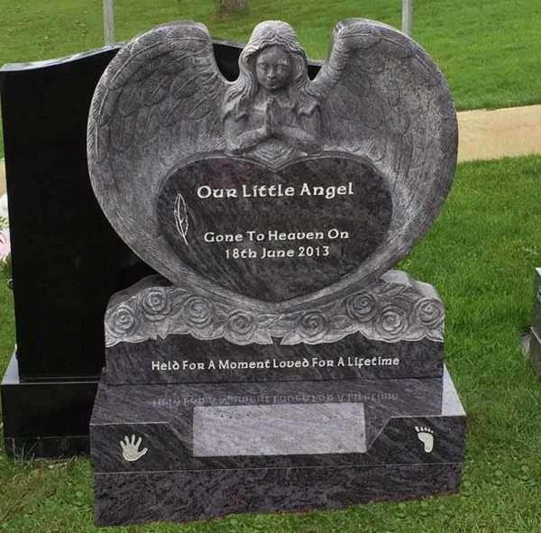 custom childs angel headstone