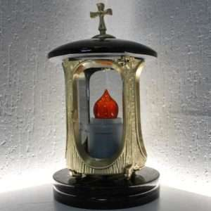 memorial lantern with red flame