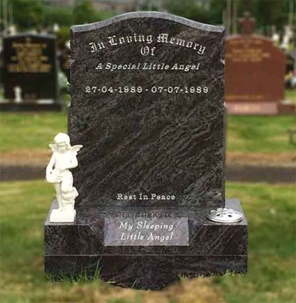 Childrens headstone with angel