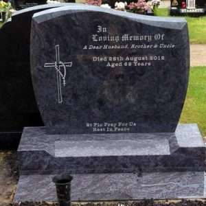 cross rosary etched headstone