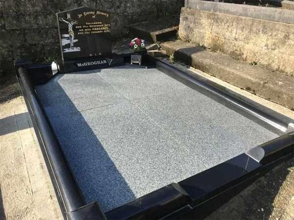 black granite surround headstone donegal
