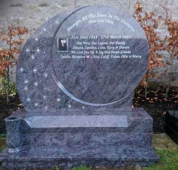 galaxy stars headstone donegal