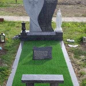 Hidden heart angel headstone